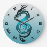 Dragon yin yang cyan wall clocks