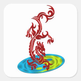Dragon Yin Yang Disc Square Sticker