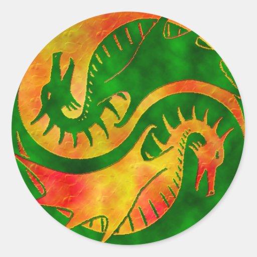 Dragón Yin Yang Etiqueta Redonda