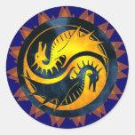 Dragón Yin Yang Etiquetas Redondas