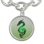 Dragon yin yang green bracelet