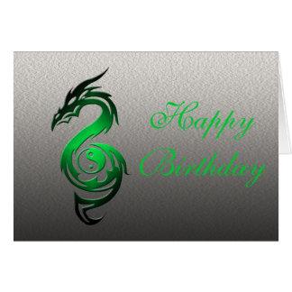 Dragon yin yang green greeting cards
