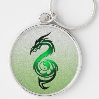 Dragon yin yang green keychain