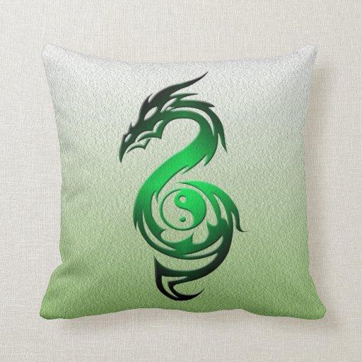 Dragon yin yang green pillow
