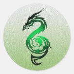 Dragon yin yang green round sticker