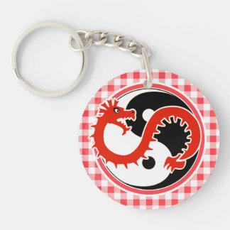 Dragón Yin Yang; Guinga roja y blanca Llavero Redondo Acrílico A Doble Cara