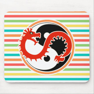 Dragon Yin Yang on Bright Rainbow Stripes Mouse Pad