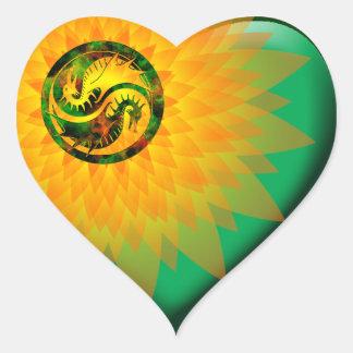 Dragón Yin Yang Calcomanías De Corazones