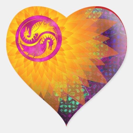 Dragón Yin Yang Pegatina En Forma De Corazón
