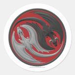 Dragón Yin-Yang Pegatina Redonda