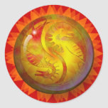 Dragón Yin Yang Pegatina Redonda