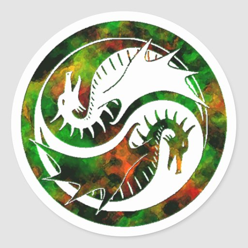 Dragón Yin Yang Pegatinas Redondas