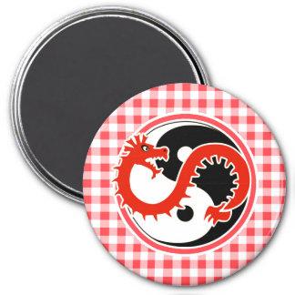 Dragon Yin Yang; Red and White Gingham Fridge Magnets