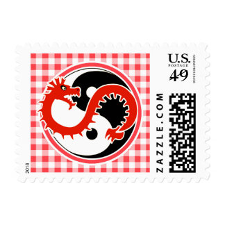 Dragon Yin Yang; Red and White Gingham Postage Stamp