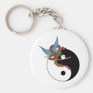 Dragon Ying Yang Basic Round Button Keychain