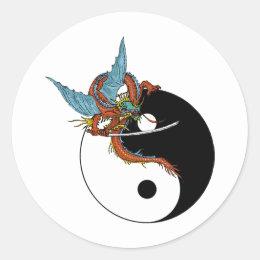 Dragon Ying Yang Classic Round Sticker