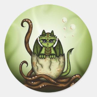 Dragonbaby in Egg Classic Round Sticker