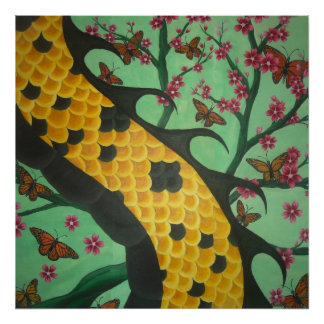 """DRAGONBUTTERBLOSSOMFLY POSTER. 24X24"""" inches. Poster"""