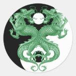 Dragones 4 de Yin Yang Etiquetas Redondas