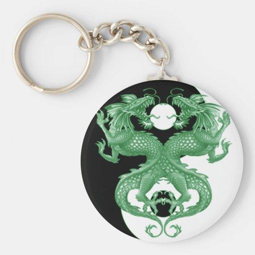 Dragones 4 de Yin Yang Llavero Personalizado