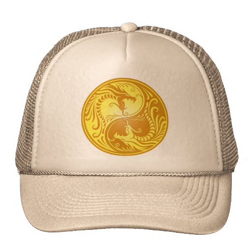 Dragones, amarillo y marrón de Yin Yang Gorras De Camionero