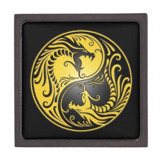 Dragones, amarillo y negro de Yin Yang Cajas De Joyas De Calidad