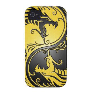 Dragones, amarillo y negro de Yin Yang iPhone 4 Carcasas
