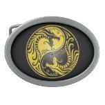 Dragones, amarillo y negro de Yin Yang Hebilla Cinturón Oval