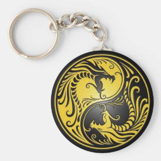 Dragones, amarillo y negro de Yin Yang Llavero Redondo Tipo Pin