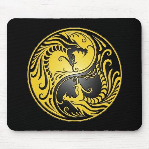 Dragones, amarillo y negro de Yin Yang Mousepads