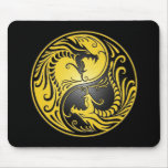 Dragones, amarillo y negro de Yin Yang Alfombrilla De Raton