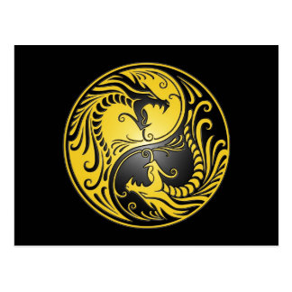 Dragones, amarillo y negro de Yin Yang Tarjeta Postal