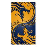 Dragones amarillos y azules de Yin Yang Plantilla De Tarjeta Personal