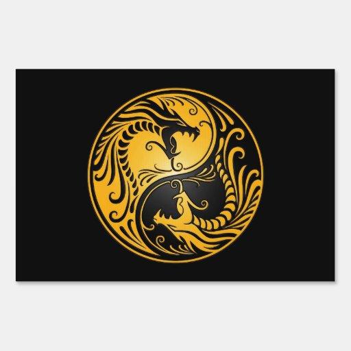 Dragones amarillos y negros de Yin Yang
