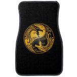 Dragones amarillos y negros de Yin Yang Alfombrilla De Coche