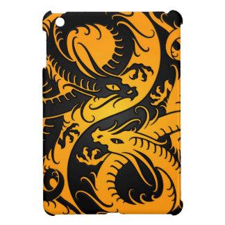 Dragones amarillos y negros del chino de Yin Yang