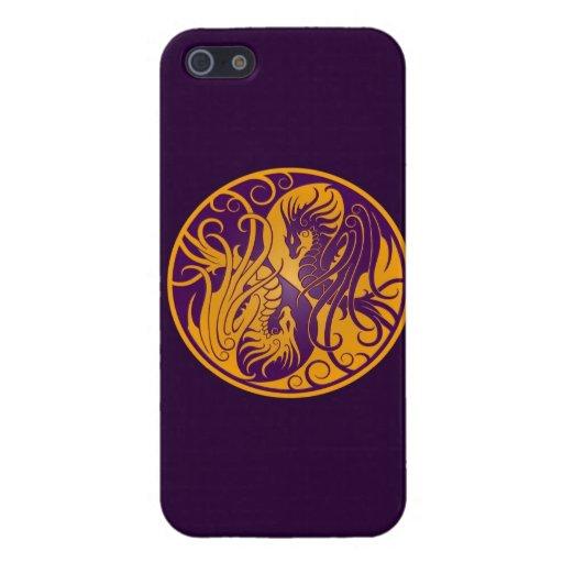 Dragones amarillos y púrpuras de Yin que vuelan Ya iPhone 5 Cobertura