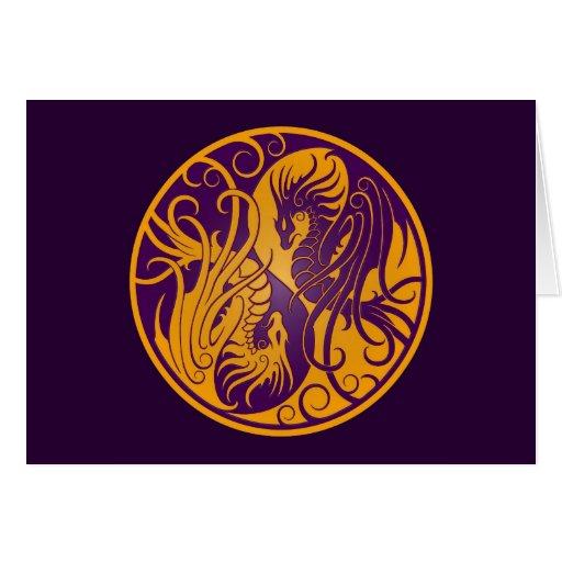 Dragones amarillos y púrpuras de Yin que vuelan Ya Tarjeta
