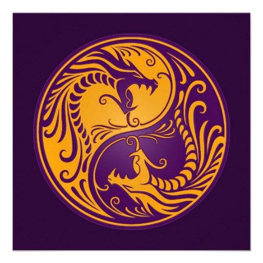Dragones amarillos y púrpuras de Yin Yang Comunicado Personal