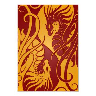 Dragones amarillos y rojos de Yin que vuelan Yang Invitaciones Personalizada