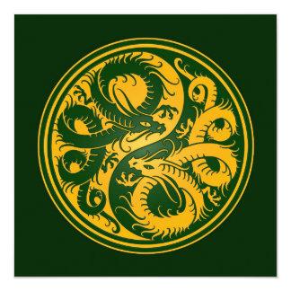 Dragones amarillos y verdes del chino de Yin Yang Anuncios Personalizados