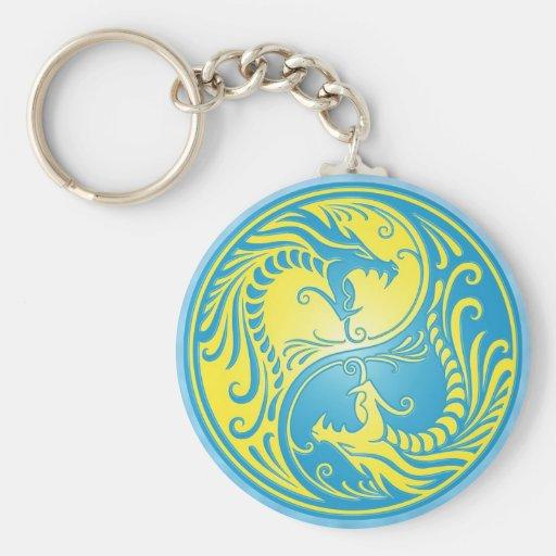 Dragones, azul y amarillo de Yin Yang Llavero