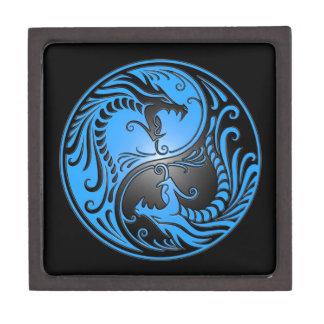 Dragones, azul y negro de Yin Yang Cajas De Regalo De Calidad
