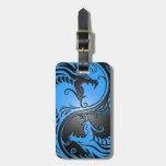 Dragones, azul y negro de Yin Yang Etiquetas Bolsas