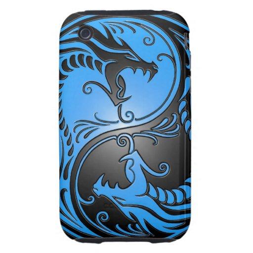 Dragones, azul y negro de Yin Yang Tough iPhone 3 Protectores