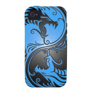 Dragones azul y negro de Yin Yang iPhone 4 Carcasas