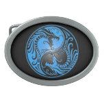 Dragones, azul y negro de Yin Yang Hebilla De Cinturon Oval
