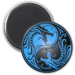 Dragones, azul y negro de Yin Yang Imanes Para Frigoríficos