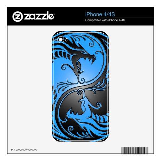 Dragones, azul y negro de Yin Yang iPhone 4S Calcomanías