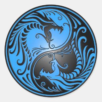 Dragones, azul y negro de Yin Yang Pegatina Redonda